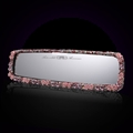 Pretty Flower Bling Bling Diamonds Crystal Car Rearview Mirror Auto Brilliant Rearview Mirror - Pink