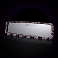 Pretty Flower Bling Bling Diamonds Crystal Car Rearview Mirror Auto Brilliant Rearview Mirror - Purple