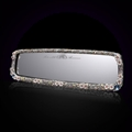 Pretty Flower Bling Bling Diamonds Crystal Car Rearview Mirror Auto Brilliant Rearview Mirror - White