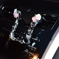 U Shape Flower Car Mobile Phone Holder Crystal Rhinestone Air Vent Mount Clip Stand GPS - White