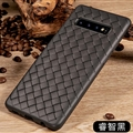 BV Woven Shield Back Covers Silicone Cases Knitted pattern Skin for Samsung Galaxy S10 - Black