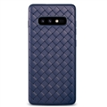 BV Woven Shield Back Covers Silicone Cases Knitted pattern Skin for Samsung Galaxy S10 Lite S10E - Blue