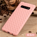 BV Woven Shield Back Covers Silicone Cases Knitted pattern Skin for Samsung Galaxy S10 Plus S10+ - Pink
