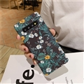 Flower Matte Silica Gel Shell TPU Shield Back SHard Cases Skin Covers for Samsung Galaxy S10 - Green