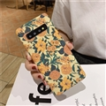 Flower Matte Silica Gel Shell TPU Shield Back SHard Cases Skin Covers for Samsung Galaxy S10 Plus S10+ - Yellow