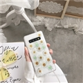 Flower Matte Silica Gel Shell TPU Shield Back Soft Cases Skin Covers for Samsung Galaxy S10 Plus S10+ - White