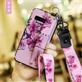 Lanyard Flower Silica Gel Shell TPU Shield Back Soft Cases Skin Covers for Samsung Galaxy S9 Plus S9+ - Purple