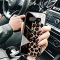 Lanyard Leopard Print Mirror Surface Silicone Glass Covers Protective Back Cases For Samsung Galaxy S10 - Black