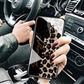 Lanyard Leopard Print Mirror Surface Silicone Glass Covers Protective Back Cases For Samsung Galaxy S9 Plus S9+  Black