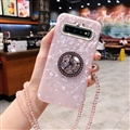 Luxury Diamond Lanyard Shuck Bling Case Protective Shell Cover for Samsung Galaxy S10 - Pink