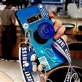 Personality Camera Silicone Lanyard Covers Wristband Back Shell Soft Cases For Samsung Galaxy Note9 - Blue