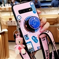 Personality Camera Silicone Lanyard Covers Wristband Back Shell Soft Cases For Samsung Galaxy S10 - Pink