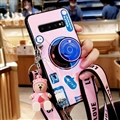 Personality Camera Silicone Lanyard Covers Wristband Back Shell Soft Cases For Samsung Galaxy S10 Plus S10+ - Pink