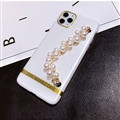 Fashion Bling Pearl Bracelet Covers Rhinestone Diamond Cases For iPhone 6 Plus - White