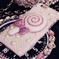 Fashion Lollipop Bling Pearl Covers Rhinestone Diamond Cases For iPhone 6 Plus - White