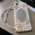 Flower Mirror Pearl Covers Rhinestone Diamond Cases For iPhone 6 Plus - 02