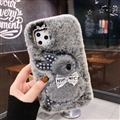 Plush Rabbit Pearl Covers Rhinestone Diamond Cases For iPhone 6 Plus - Grey