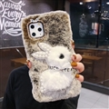 Plush Rabbit Pearl Covers Rhinestone Diamond Cases For iPhone 6 Plus - Light-Gray