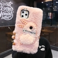 Plush Rabbit Pearl Covers Rhinestone Diamond Cases For iPhone 6 Plus - Pink