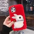 Plush Rabbit Pearl Covers Rhinestone Diamond Cases For iPhone 6 Plus - Red