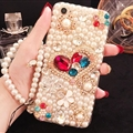 Women Bling Pearl Sling Covers Rhinestone Diamond Cases For iPhone 6 Plus - Gold