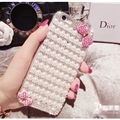 Bow Pearl Covers Rhinestone Diamond Cases For iPhone 6S - Pink