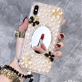 Flower Mirror Pearl Covers Rhinestone Diamond Cases For iPhone 6S - 01